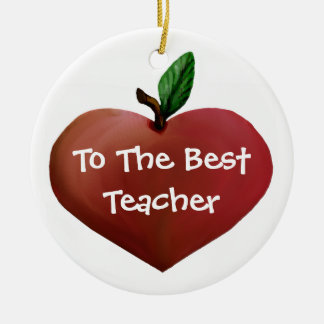 Heart Apple Teacher ornament