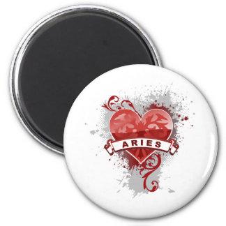 Heart Aries 6 Cm Round Magnet