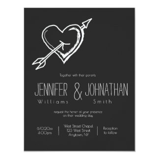 Heart arrow chalkboard wedding invitations
