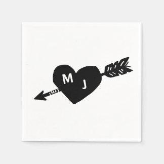 Heart & Arrow Monogram Cocktail Napkins Paper Serviettes