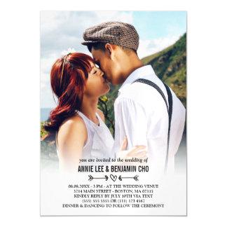 Heart & Arrows Custom Photo Wedding Magnetic Invitations