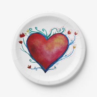 Heart Art Love  Custom Paper Plates 7""