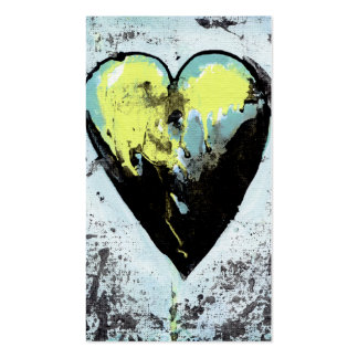 Heart art messy expressive scarred modern painting business card