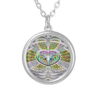 heart art rays of light silver plated necklace