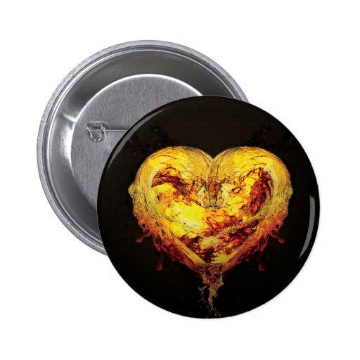 Heart Artwork Button/Badge 6 Cm Round Badge