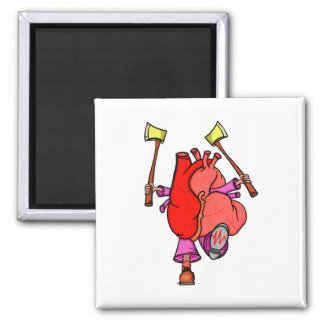 Heart Attack Funny Cartoon Square Magnet