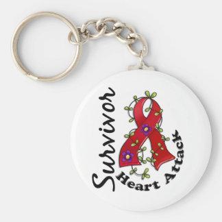 Heart Attack Survivor 15 Basic Round Button Key Ring