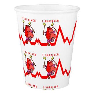 Heart attack survivor paper cup