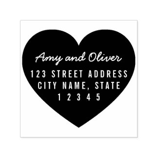 Heart Background Couple Name Return Address Self-inking Stamp
