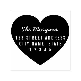 Heart Background Family Home Address Self-inking Stamp