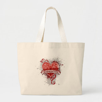 Heart Badminton Large Tote Bag