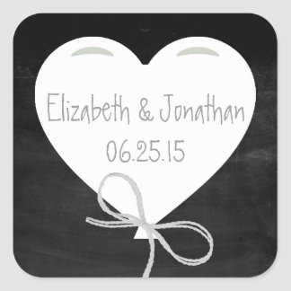 Heart Balloon on a Chalkboard Wedding Square Sticker