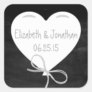 Heart Balloon on a Chalkboard Wedding Stickers