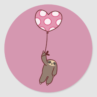 Heart Balloon Sloth Classic Round Sticker