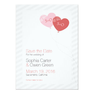 "Heart Balloons 5.5"" x 7.5"" Wedding Save The Date Card"