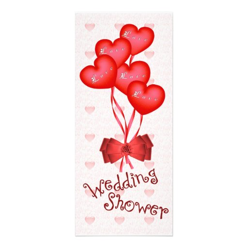 Heart balloons wedding shower 10 cm x 24 cm invitation for Wedding shower balloons