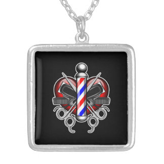 Heart Barbers Silver Plated Necklace