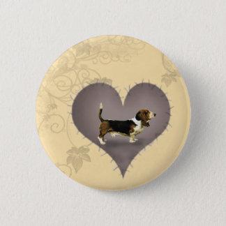 Heart Basset Hound 6 Cm Round Badge