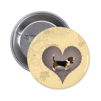 Heart Basset Hound Pinback Buttons