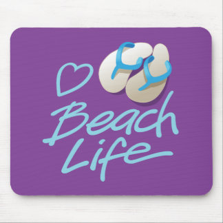 Heart Beach Life mouse pad with Flip Flops