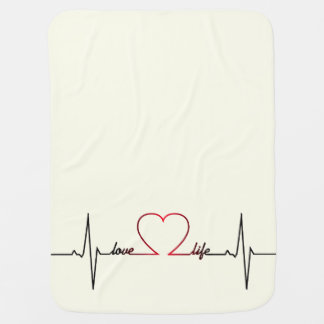 Heart beat with love life inspirational quote baby baby blanket