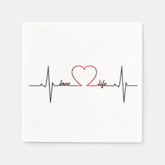 Heart beat with love life inspirational quote disposable serviette
