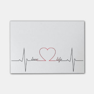 Heart beat with love life inspirational quote post-it notes