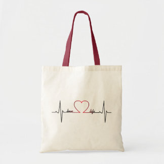 Heart beat with love life inspirational quote tote bag