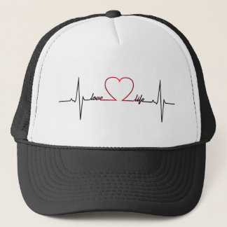 Heart beat with love life inspirational quote trucker hat