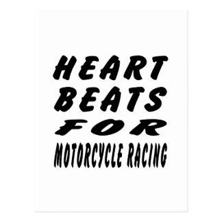Heart Beats For MOTORCYCLE RACING Postcard