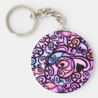 Heart Beats Singing, Stained Glass style Keychains