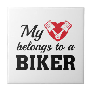 Heart Belongs Biker Ceramic Tile