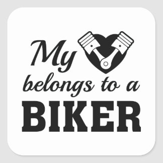 Heart Belongs Biker Square Sticker