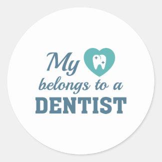 Heart Belongs Dentist Classic Round Sticker