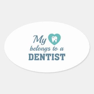 Heart Belongs Dentist Oval Sticker