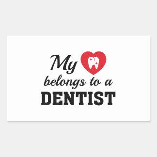 Heart Belongs Dentist Rectangular Sticker