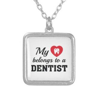 Heart Belongs Dentist Silver Plated Necklace