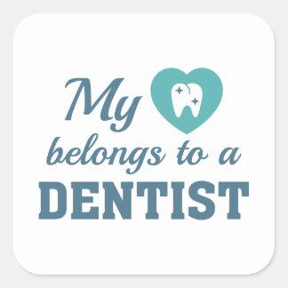 Heart Belongs Dentist Square Sticker