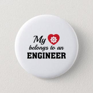 Heart Belongs Engineer 6 Cm Round Badge