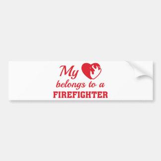 Heart Belongs Firefighter Bumper Sticker