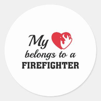 Heart Belongs Firefighter Classic Round Sticker