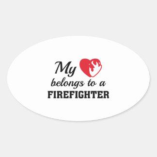 Heart Belongs Firefighter Oval Sticker