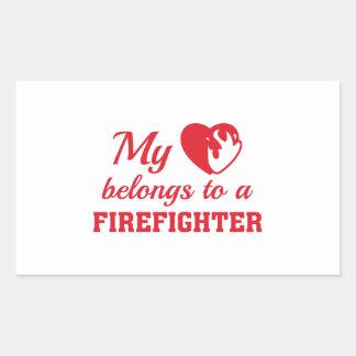 Heart Belongs Firefighter Rectangular Sticker