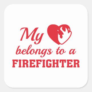 Heart Belongs Firefighter Square Sticker