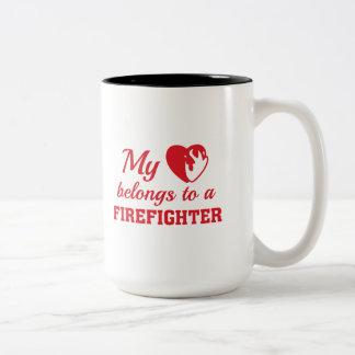 Heart Belongs Firefighter Two-Tone Coffee Mug