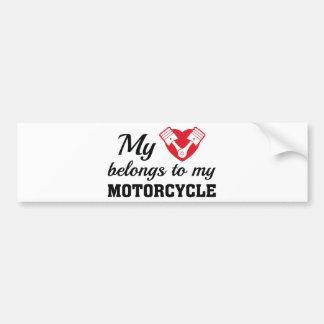 Heart Belongs Motorcycle Bumper Sticker