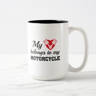 Heart Belongs Motorcycle Two-Tone Coffee Mug