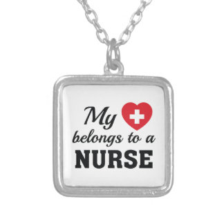 Heart Belongs Nurse Silver Plated Necklace