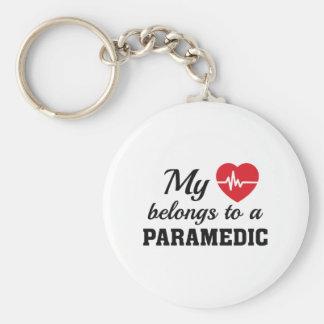 Heart Belongs Paramedic Basic Round Button Key Ring