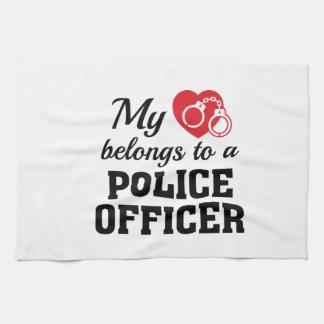 Heart Belongs Police Officer Tea Towel